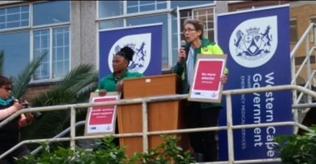 Doctors Nomofrench Mbombo, WC health MEC, and Beth Robertson, DoH head at the launch of Operation Khuseleka.