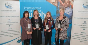 (fltr) Liezel van Jaarsveld (CLX), Eoné Marnewick (Sasol), Chené Scholtz (University of Johannesburg student), Colette Wessels (Imperial Logistics) were recognised for excellence in supply chain skills development at the recent SCMEEA celebration.