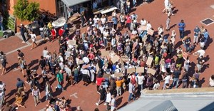 Protesters occupying The Old Biscuit Mill. Photo: Ashraf Hendricks