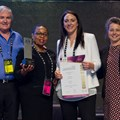 Primedia Lifestyle accepts the Gold Award for the Grocery Avenue campaign at Menlyn Park Shopping Centre, in the category of grand opening, expansion and/or renovation. From left to right: Jeff Zidel, SACSC Fortress and President; Olive Ndebele, GM of Menlyn for Mowana Properties; Andrea De Wit, Marketing Manager of Menlyn for Primedia Lifestyle; and Amanda Stops, SACSC CEO.