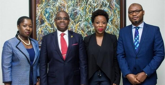 L – R: Adebimpe Ihekuna, Head Banking Products FirstBank; Gbenga Shobo, Deputy Managing Director, FirstBank; Ebi Atawodi, General Manager for Uber in Nigeria and Babatunde Lasaki, Head Media and External Relations FirstBank