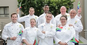 South African Senior National Culinary Team: Back row: Henrico Grobbelaar, Dion Vengatass, Trevor Boyd, Heinz Brunner. Front row: Blake Anderson, Kirstin Hellemann, Arno Ralph, Minette Smith.