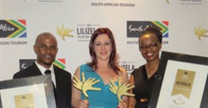 Displaying the City Lodge Hotel Groups category-winning Lilizela Tourism Awards are (left to right) Brandon Adam, Mandy Gunpath and Andile Ncube.