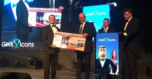 Macsteel: Supplier of the year, accepted by Tony Shalovsky presented by Callei van der Merwe of Astra Travel and Pieter Spies, Managing Director GWK Group