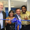 Ribbon-cutting for WorldVentures new office opening. From Left to right: John Keogh (Director of Compliance South Africa), Cassandra Devraj and Soojay Devraj ( International Marketing Directors), Kyle Lowe (Senior Vice President of Global Sales and International Expansion) and Kemble Morgan (General Manager Africa)
