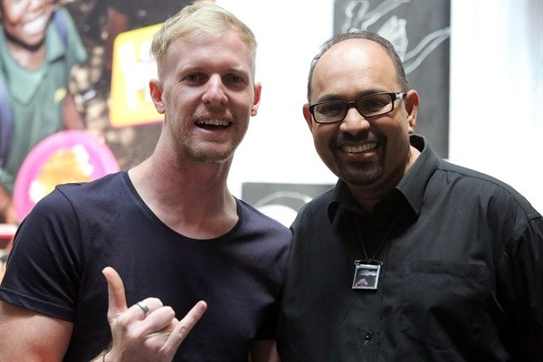 Gangs of Ballet's Brad Klynsmith with Terence Pillay at the East Coast Radio Toy Story with Game Corporate Day Challenge today.