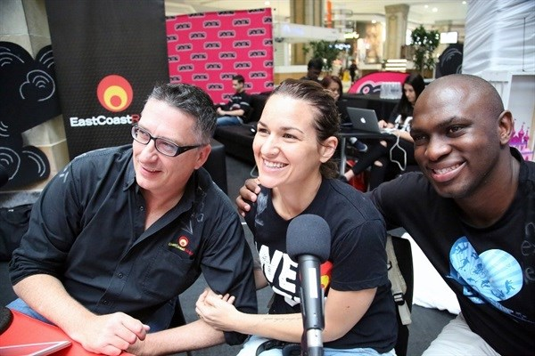 East Coast Breakfast's Darren Maule, Keri Miller and Sky Tshabalala kicked off the marathon 12 hour outside broadcast and telethon at the Pavilion Shopping Centre today.