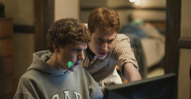 Joseph Mazzello and Jesse Eisenberg in The Social Network (2010): women are rarely depicted in such roles on screen. Columbia Pictures