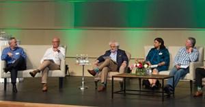 Panel in action: Richard Rushton, Johann Krige, Michael Fridjhon, Denise Stubbs, Neville Carew, Gavin Dittmar and Rico Basson