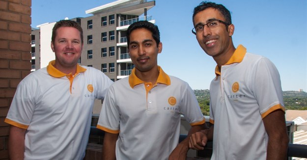 Carter's co-founders Tom Gardner, Amit Bholla and Vikash Govindjee.