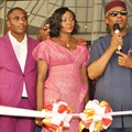 R-L: Deputy Governor of Anambra State, Nkem Okeke (Right); Chairman, Bon Hotel Grand Pela, Nwakeze Pete and his wife Nwakeze Emmanuela, during the official commissioning of Grand Pela Hotel in Durumi, Abuja, and Former Ambassador of Nigeria to Angola, Folorunso Otukoya (left).