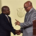"Known as the ""Weekend Special"", Des van Rooyen held the post of finance minister for all of four days. He is seen here with President Jacob Zuma. Source: Municipal Focus"