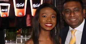McDonald's South Africa CMO, Daniel Padiachy, meets Shoki Mokgape who is one of the nominees in the McCafé sponsored category: Best Actress in a Feature Film.