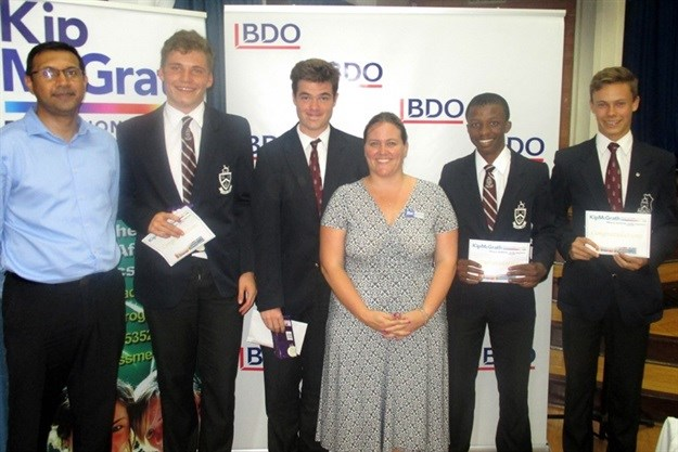 The Highway winners of the BDO School Quiz were this team of Grade 10/11 learners from Kearsney College school. They are shown here receiving their prize from Sumesh Somaroo of BDO (left to right) Daniel Phillips, Michael Lee, Charmaine Hollins of Kip McGrath, Hlumela Mngomezulu and Jethro Strydom.