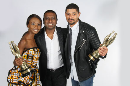 From Left: Shoki Mokgapa, who won Best Actress in Feature Film Sink, with Daniel Padiachy, Chief Marketing Officer of McDonald's SA, and Dann-Jacques Mouton, who took Best Actor in a Feature Film.