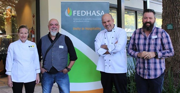 From left to right: Chef Jocelyn Myers-Adams (Executive Chef, Table Bay Hotel); Chef Pete Goffe-Wood (Celebrity Chef and Industry Consultant), Chef Carl van Rooyen (Executive Chef, Vineyard Hotel) and Chef Bertus Basson (Owner Overture Restaurant).