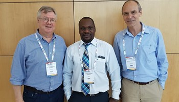 Professor Magnus Knebel von Doeberitz, medical director, University of Heidelberg, Dr Omenge Orango'o, Moi University Nairobi and Dr Gilbert Saggia, SAP Africa's managing director: East Africa