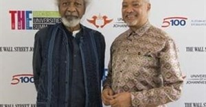 From L-R: Nobel Laureate prize winner, Prof Wole Soyinka and Professor Ihron Rensburg, Vice-Chancellor of the University of Johannesburg (UJ).