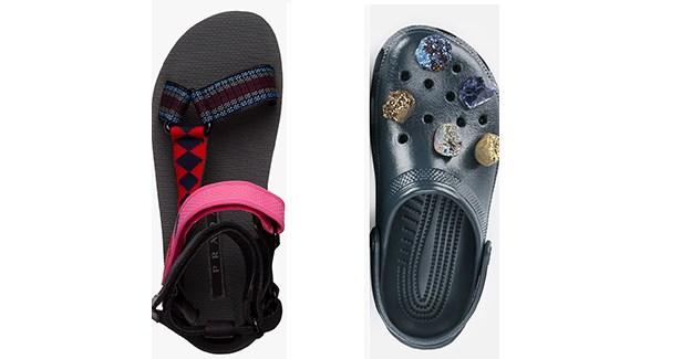 Christopher Kane's Crocs and Prada's Teva style sandal.
