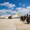 Traditional Zimbabwean dancers welcome Ethiopian Airlines's inaugural flight into Victoria Falls International Airport