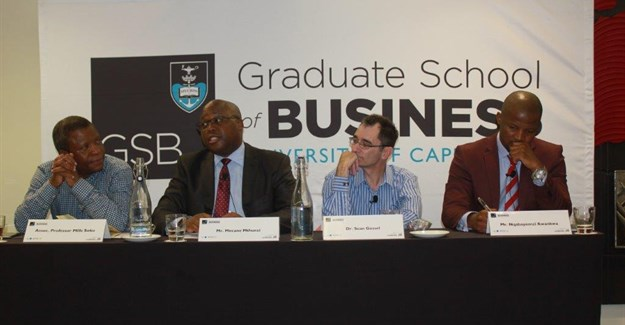 Panellists: Associate Professor Mills Soko, director: GSB; Mncane Mthunzi, president: Black Management Forum, Dr Sean Gossel, senior lecturer in finance at the GSB; and Nqabayomzi Kwankwa, United Democratic Movement (UDM) chief whip.
