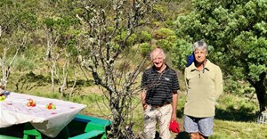 Tru-Cape's Buks Nel and Henk Griessel with the ancient apple tree on Table Mountain