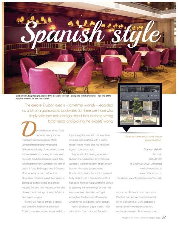Cheers Magazine - Restaurant feature