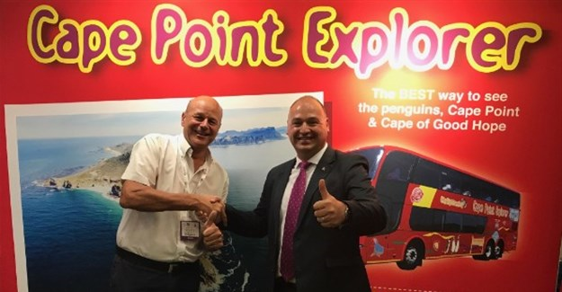 Claus Tworeck from City Sightseeing South Africa and James Vos, Shadow Minister for Tourism at WTM Africa 2017.