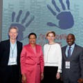 Graça Machel, with (left to right) Trialogue MD Nick Rockey and Trialogue directors Cathy Duff and Vusi Khoza.