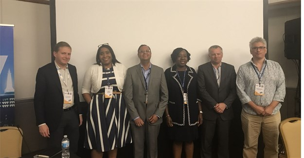 (L-R): Nic Rudnick, CEO, Liquid Telecoms; Uche Ofodile, Regional Head, Africa Express Wi-Fi, Facebook; Artur Mendes, CCO, Angola Cables; Funke Opeke, CEO, MainOne; Chris Wood, CEO, WIOCC and Chris George, Strategic Initiatives, Google, at the 2017 International Telecoms Week, held in Chicago, this past week.