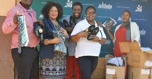 Sbongakonke Ndlovu, Ithala Branch Manager Stanger; Sitandiwe Dimba, Ithala CSI; Richard Mpanza, Chairman of the School Governing Body; Sphumele Biyela, Educator; and Lindiwe Gumede, Ithala Adviser Stanger