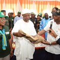 L-R: Deputy Governor, Osun State, Titilayo Laoye-Tomori; Governor of Osun State, Rauf Aregbesola; and Director General of the International Institute of Tropical Agriculture, Dr Nteranya Sanginga at the commissioning of IITA Research and Training Farm in Ago Owu