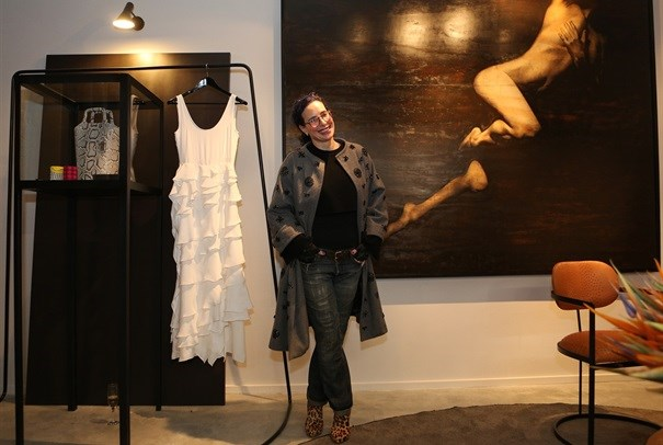 Rahla Xenopoulos, author and novelist, in Kat van Duinen's new designer store.
