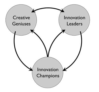 Diagram 1: The interrelationships between the three key roleplayers to achieve viable innovation initiatives.