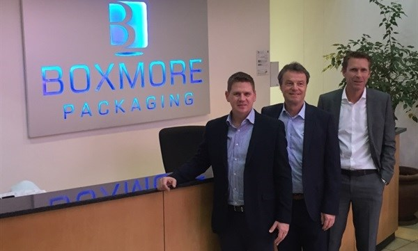 Boxmore CEO Len Engelbrecht, Alpla CEO Günther Lehner and Alpla's regional director for Africa, Middle East and Turkey Christoph Riedlsperger.