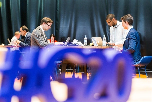 Journalists inside the G20 media centre in Hamburg.<br>Image: