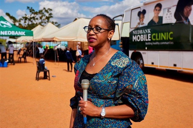 Lindiwe Temba, Nedbank executive head of corporate social investment, at the launch of the Schools Healthy Lifestyle Programme at Saphinda Primary School.
