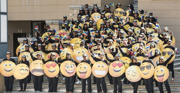South African emoji fans at Mandela Square in Sandton