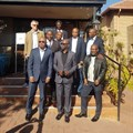 Front from left to right: Desmond Khalid Golding (CEO of RETOSA), Sem Shikongo (Chairman of RETOSA), Digu // Naobeb (CEO of Namibia Tourism Board).