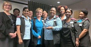 Jacqui Stewart with the Clinical Management Team of Mediclinic Morningside which constantly strives to drive clinical quality improvement. From left (front row): Sr Karuna Jamalooden, Sr Jean Erasmus, Sr Margaret Lidovho, Sr Kombi Katuta. From left to right back row: Sr Patricia Gcabashe, Sr Joanne Madeley, Sr Joanne van Rensburg, Sr Anna Matela and Sr Dudu Mabaso.