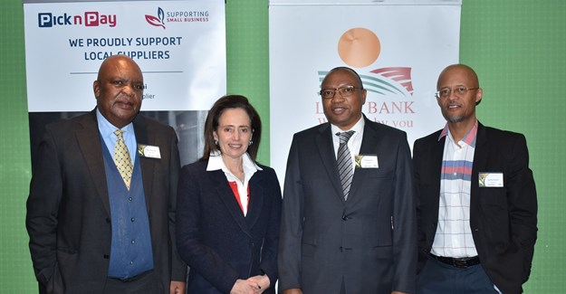 Isaac Motaung (Pick n Pay), Suzanne Ackerman-Berman (Pick n Pay), TP Nchocho (Land Bank) and Syndey Soundy (Land Bank)