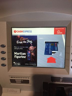 Cadburys Martian's abducting ATM screens across South Africa