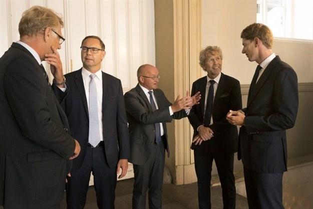 From left: Peter Damgaard Jensen, CEO of PKA; Kim Fejfer, managing partner and CEO of AP Moller Capital; Torben Möger Pedersen, CEO of PensionDanmark; Chresten Dengsøe, CEO of Lægernes Pension, Robert Mærsk Uggla, CEO of AP Moller Holding