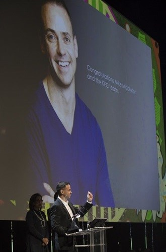 Mike Middleton on stage accepting his award.<br>Gallo Images/Alistair Nicoll