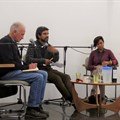 L-R: Ben Cousins from PLAAS, Aditya Kumar from DAG, Sarita Pillay from Ndifuna Ukwazi and Lauren Royston from SERI discuss land reform at the Open Book Festival.
