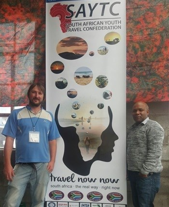 Aiden Lawrence (SAYTC Eastern Cape Chair) and Titus Chuene (Nelson Mandela Bay Tourism Marketing Manager) at the first day of the South African Youth Tourism Confederation Conference 2017.