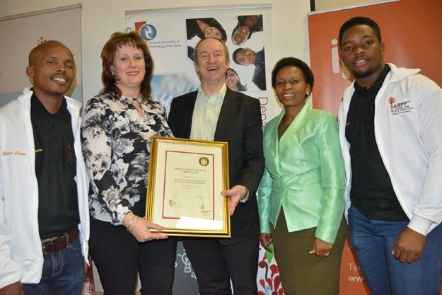 L-R: Sekoele Ramajoe, Prof. Deseré Kokt, Associate Professor: HR Management, Mr Marius Mayer: CEO of SABPP, Ms Kgomotso Mopalami: Chairperson SABPP Free State and CUT Alumnus and Zuko Hlanjwa.