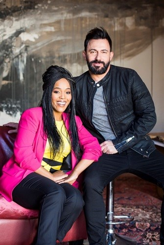 Tumi Morake with her co-host Martin Bester.