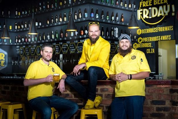 Beerhouse owners Murray Slater and Randolf Jorberg with Ultimate Braaimaster Piet Marais