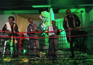 L-R: Lazola Gola; Doritos promoter - Motsomi Moja; Doritos promoter - Lungile Mtsweni and Loyiso Gola